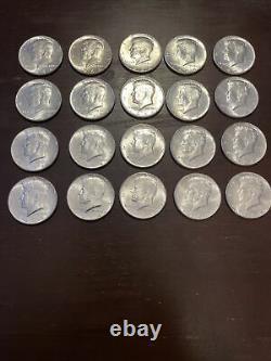 Lot680- One roll of (20) 1964 Unc KENNEDY HALF DOLLARS BU Silver Roll Nice