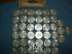 Lot Of 40-(circulated)-1964 Kennedy Half Dollars-(50 Cent)- 90% Silver Coins