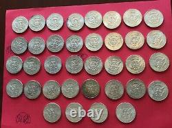 Lot of 36 Kennedy Silver Half Dollars 90% Silver Coins. All 1964