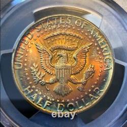 MS65 1964 50C Kennedy Silver Half Dollar, PCGS Secure- PCI Rainbow Toned