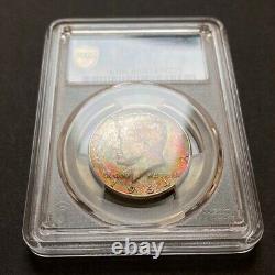 MS65 1964 50C Kennedy Silver Half Dollar, PCGS Secure- Vivid Rainbow Toned