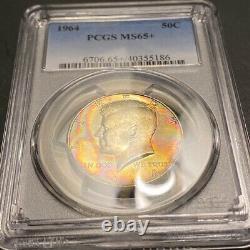 MS65+ 1964 50C Kennedy Silver Half Dollar, PCGS True View- Pretty Rainbow Toned