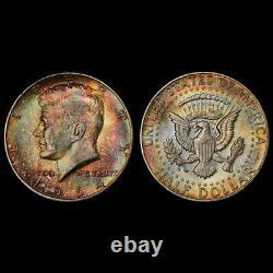 MS65 1964-D 50C Kennedy Silver Half Dollar, PCGS Secure- Rainbow Toned