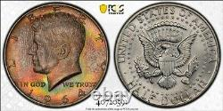 MS66 1964-D 50C Kennedy Silver Half Dollar, PCGS Secure- EOR Roll Rainbow Toned