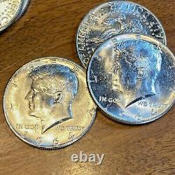 New Bright Clean Roll 20 Bu 1964 D Kennedy Half Dollars Brilliant Uncirculated