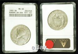 Rare 1982 Panama half Balboa struck on 1971 USA Kennedy half dollar ANACS MS-63