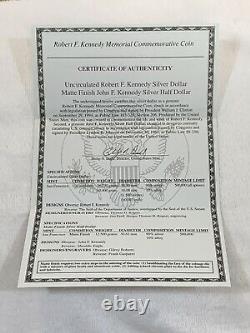 Rare 1998-S Kennedy Collector's Set Silver Matte Half & Silver UNC Dollar COA