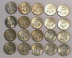 Twenty US 50C 40% Silver Kennedy Half Dollars $10 Face Value 1965-69